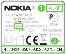 Etikett des Ladegerätes AC-3E von Nokia (Abbildung: Nokia)