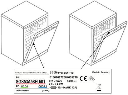 Modell-, Chargen- und Seriennummer befinden sich oben oder an der oberen linken Seite in der Tür des Geschirrspülers.