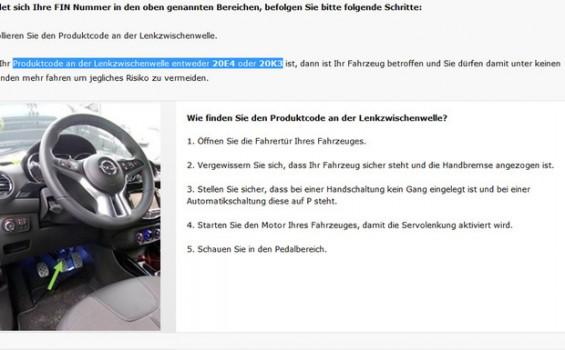 Auf einer speziellen Internetseite erläutert Opel, wie Kunden den Produktcode der Lenkzwischenwelle ermitteln können. (Abbildung: Autoservicepraxis)