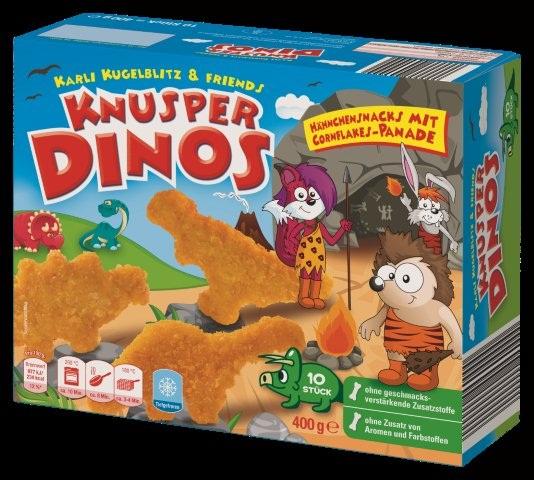 Können Plastikfolienteile enthalten: Knusper Dinos, die bei Netto Markendiscount verkauft werden.
