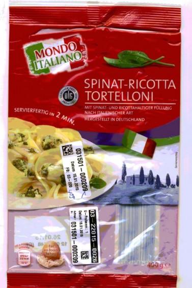 Die Spinat Ricotta Tortelloni mit dem Mindesthaltbarkeitsdatum 26. Januar 2015 sollten nicht verzehrt werden.