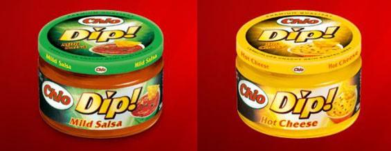 Zwei Sorten von Chio Dip! sind von dem Rückruf betroffen: Mild Salsa und Hot Cheese. (Foto: Screenshotbearbeitung von Chio-Webseite)