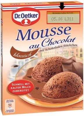 Kann Hühnereiweiss enthalten: Dr. Oetker Mousse au Chocolat Dessert-Pulver. (Foto: Dr. Oetker)