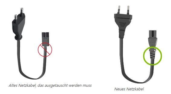 Die Grafik zeigt den Unterschied zwischen dem zu tauschenden Netzkabel und dem neuen Netzkabel. (Grafik: Microsoft)