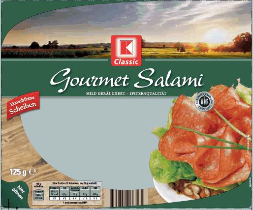 Kann von Salmonellen befallen sein: K-Classic Gourmet Salami von Kaufland. (Foto: Kaufland)