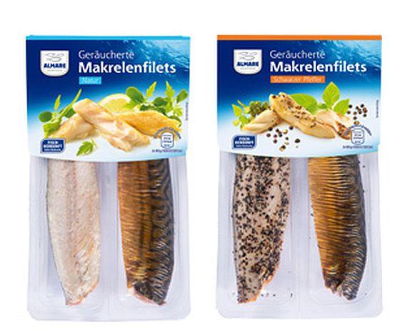 Ein Mindeshaltbarkeitsdatum wurde falsch aufgedruckt - deshalb ruft ALDI Süd die von Laschinger Seafood produzierten Makrelenfilets geräuchert in Natur oder mit Pfeffer zurück. (Foto: Laschinger Seafood)