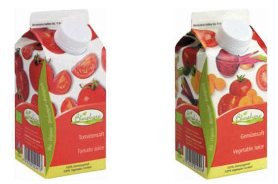 Können verschimmelt sein: Biosphere Tomatensaft und Gemüsesaft. (Foto: Biosphere)