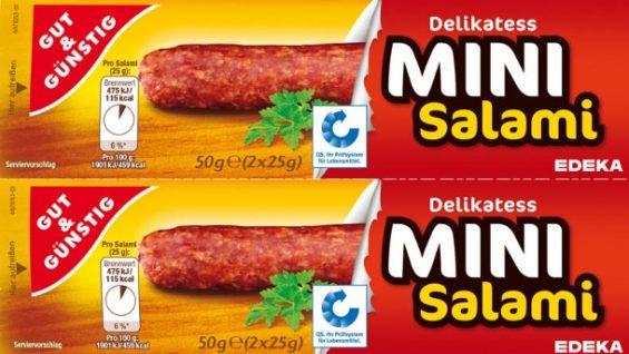 Das Fett in der Salami kann verdorben sein, deshalb ruft EDEKA die Gut & Günstig Mini Salami zurück. (Foto: EDEKA)