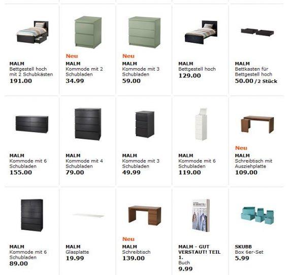 Die neu eingeführten Varianten der MALM-Kommoden sind breiter ausgelegtr, so dass sie beim Herausziehen der Schubladen nicht so einfach umkippen können. (Foto: Screenshot IKEA Webseite vom 28. Juli 2016)
