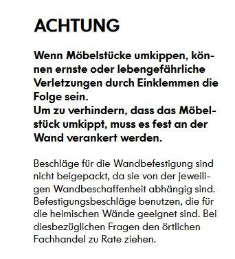 Warnhinweis aus der Aufbauanleitung für die Malm-Kommode mit 6 Schubladen.