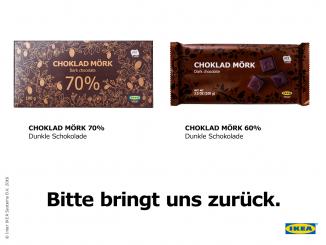 Eine nicht ausreichende Deklaration der Inhaltsstoffe führt zum Rückruf von Schokoladenprodukten von IKEA (Bild: IKEA)
