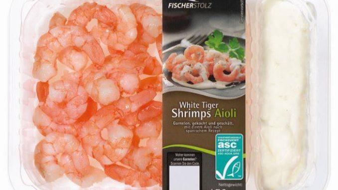 """In der Aioli-Creme des Produktes """"Fischerstolz White Tiger Shrimps Aioli, 150g"""" des Herstellers Heiploeg International B.V. ist Senf enthalten. Da der Senf auf der Zutatenangabe vergessen wurde, muss das Produkt nun zurückgerufen werden. (Foto: Heiploeg International B.V)"""