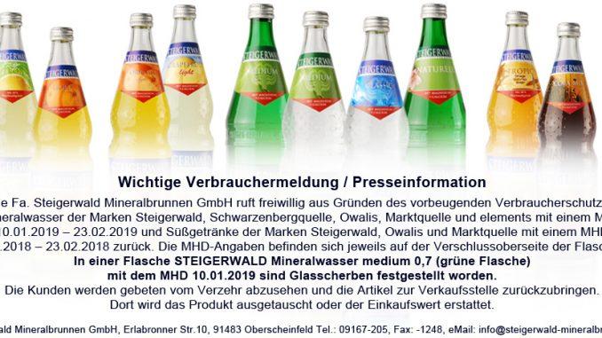 Steigerwald Mineralbrunnen ruft zahlreiche Produkte zurück, weil in einer Flasche ein Fremdkörper gefunden wurde. (Foto: Steigerwald Mineralbrunnen)