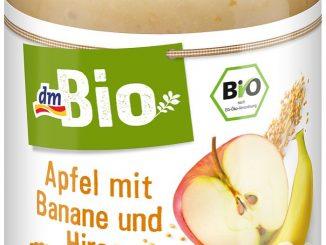 Rückruf wegen falschem Inhalt, der für Allergiker mit Glutenunverträglichkeit gefährlich sein kann: dmBio Apfel mit Banane und Hirse aus der dm-drogerie (Foto: dm-drogerie)