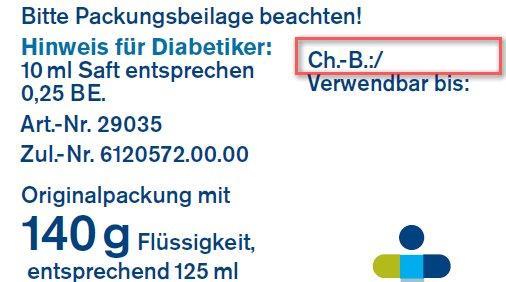 Das Etikett auf der Flaschenrückseite zeigt die Chargennummer. (Foto: tetesept Pharma GmbH)