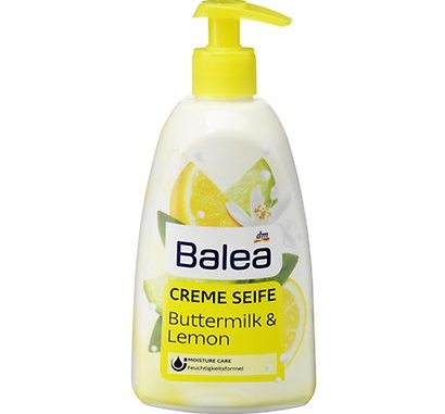 Balea Cremeseife Buttermilk & Lemon 500ml wegen Darmbakterien im Rückruf (Foto: dm-drogerie)