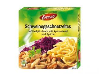 Kann Glassplitter enthalten: erasco Schweinegeschnetzeltes in Waldpilz-Sauce mit Apfelrotkohl und Spätzle. (Foto: Continental Foods)