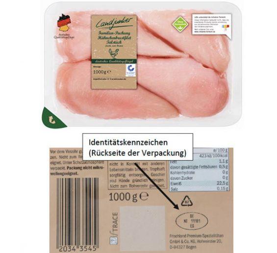 Kann Metallfremdkörper enthalten: Landjunker Familien-Packung Hähnchenbrustfilet. (Foto: LIDL/Frischland Premium Spezialitäten)