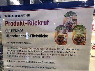 ALDI Nord informiert die Kunden über den Rückruf der Güldenhof Hähnchenbrust-Filetstücke in gewohnt vorbildlicher Weise. (Foto: Markus Burgdorf)
