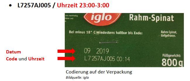Bitte beachten Sie diesen Aufdruck auf der Packung, um zu sehen, ob Ihr Produkt von dem Rückruf betroffen ist.