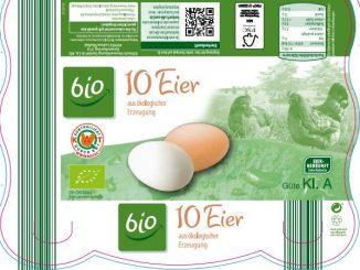 Die Bio Eier kommen - je nach Supermarktkette - in unterschgiedlichen Verpackungsdesigns. Hier exemplarisch die Verpackung der Bio Eier bei ALDI Süd. (Foto: ALDI Süd).