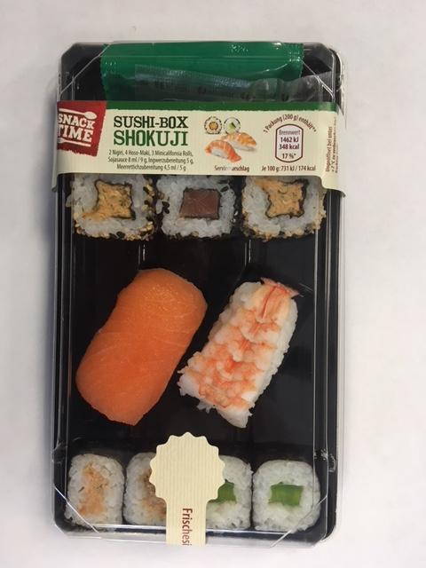 Die Sushibox Sushibox Shokuij mit Verbrauchsdatum 30.10. 2018 kann Plastikteilchen enthalten. (Foto: Hersteller)