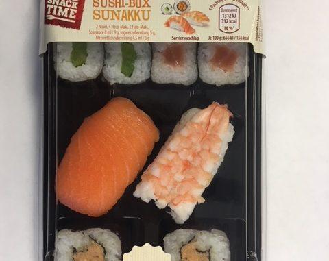 Die Sushibox Sunakku mit Verbrauchsdatum 30.10. 2018 kann Plastikteilchen enthalten. (Foto: Hersteller)